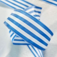 Laitonne French Blue and White Striped Acetate Wired Ribbon 38mm Width