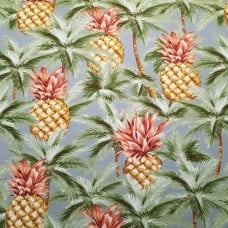 Tropical Pineapples and Palms Indoor Outdoor Fabric in Red-Brown Leaf