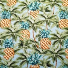 Tropical Pineapples and Palms Indoor Outdoor Fabric in Turquoise Leaf