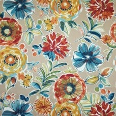 Modern Flowers on Taupe Indoor Outdoor Fabric Fabric Traders