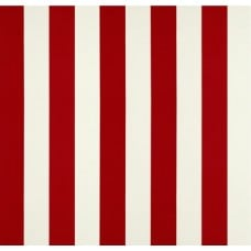 Striped Indoor Outdoor Fabric in Red And White