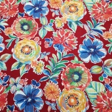 Floral and Modern Indoor Outdoor Fabric in Red