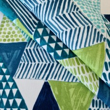 Decorative Triangles on White in Green Indoor Outdoor Fabric