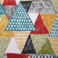 Decorative Triangles on White Indoor Outdoor Fabric