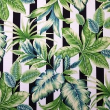 Stripes and Lush Tropical Leaves Outdoor Fabric