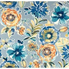 Floral and Modern Indoor Outdoor Fabric in Blue Fabric Traders