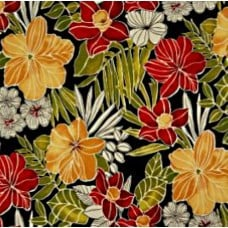 Fresh Tropical Flowers Outdoor Fabric in Black