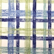 Check Sketch Luxury Home Decor Cotton Fabric in Blue and Green