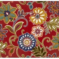 Alinea Floral in Deep Red Indoor Outdoor Fabrics Fabric Traders