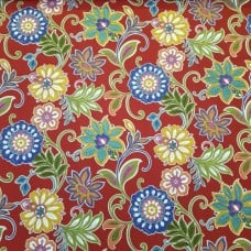 Alinea Floral in Deep Red Indoor Outdoor Fabrics