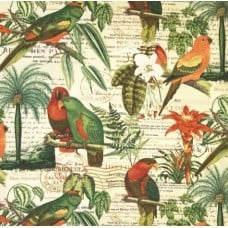 Tropical Birds and Flora Indoor Outdoor Fabric