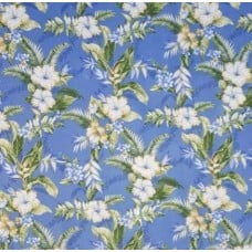 Tropical Hibiscus and Leaf Outdoor Fabric in Blue