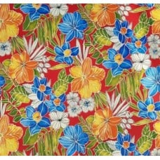Fresh Tropical Flowers Outdoor Fabric in Black Fabric Traders