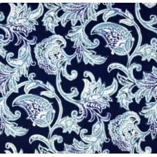 Hamptons Floral Scroll Indoor Outdoor Fabric in Blue Fabric Traders
