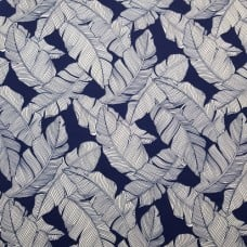 Resort Palm Leaf Outline Styled Indoor Outdoor Fabric in Blue