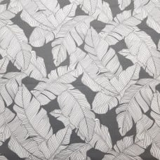 Resort Palm Leaf Outline Styled Indoor Outdoor Fabric in Grey