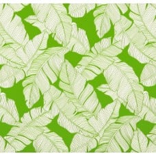 Resort Palm Leaf Outline Styled Indoor Outdoor Fabric in Lime Fabric Traders