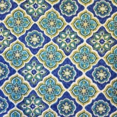 Decorative Tile Styled Indoor Outdoor Fabric in Green Fabric Traders