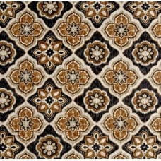 Decorative Tile Styled Indoor Outdoor Fabric in Brown Fabric Traders
