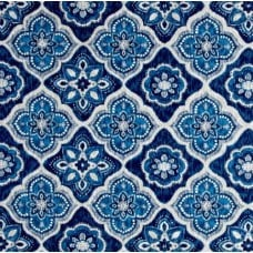 Decorative Tile Styled Indoor Outdoor Fabric in Blue