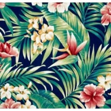Tropical Flowers in Blue Indoor Outdoor Fabric