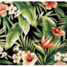 Tropical Flowers in Night Indoor Outdoor Fabric