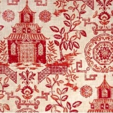 Teahouse Red Luxe Linen Blend Home Decor Fabric - OFFCUT