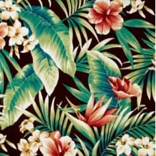 Tropical Flowers in Rich Earth Indoor Outdoor Fabric
