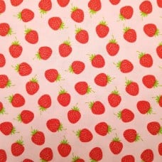 Strawberries in Pink Cotton Fabric by Riley Blake