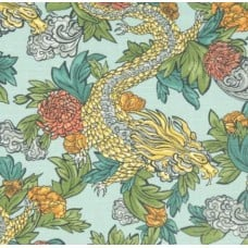 Ming Dragon Aquatint Luxe Cotton Home Decor Fabric by Robert Allen Fabric Traders