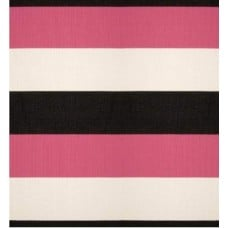 REMNANT - Stripe Indoor Outdoor Heavy Duty Fabric in Pink, Ivory and Black 90cm