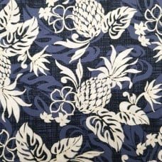 Pineapples and Flowers Cotton Fabric in Blue by Robert Kaufman
