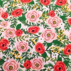Stretch Cotton Blend Jersey Fabric Flowers in Pink on Pink Fabric Traders