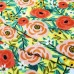 Stretch Cotton Blend Jersey Fabric Flowers in Pink on Lemon Fabric Traders