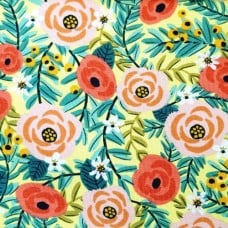 Stretch Cotton Blend Jersey Fabric Flowers in Pink on Lemon