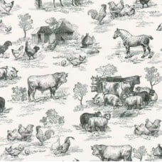 Down On The Farm Black  Cotton Fabric by Robert Kaufman Fabric Traders