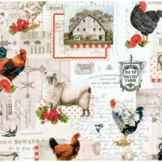 Down On The Farm Country Collage Cotton Fabric by Robert Kaufman Fabric Traders