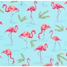 Flamingo Paradise Cotton Fabric in Aqua Fabric Traders