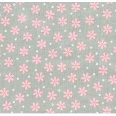 Flannel Daisy Cotton Fabric in Grey and Pink