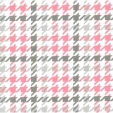 Flannel Houndstooth Cotton Fabric in Bubble Gum