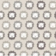 Flannel Cotton Fabric Lions Grey