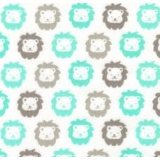 Flannel Cotton Fabric Lions Mint