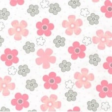 Flannel Daisy Cotton Fabric in Pink on White
