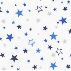 Flannel Stars Cotton Fabric in Royal and White
