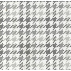 Flannel Houndstooth Cotton Fabric in Grey and White
