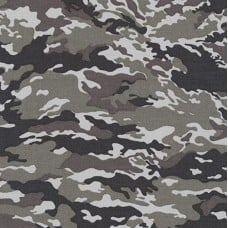 Camouflage Cotton Fabric by Robert Kaufman in Grey