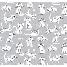 Jersey Knit Stretch Fabric in Grey Cats
