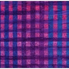 Artisan Batik Hand Painted Gingham Cotton Fabric in Grape