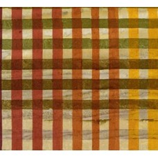Artisan Batik Hand Painted Gingham Cotton Fabric in Redwood