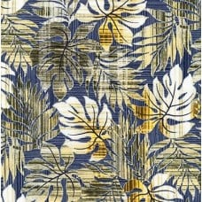 Tropical Leaves in Blue Cotton Fabric by Robert Kaufman